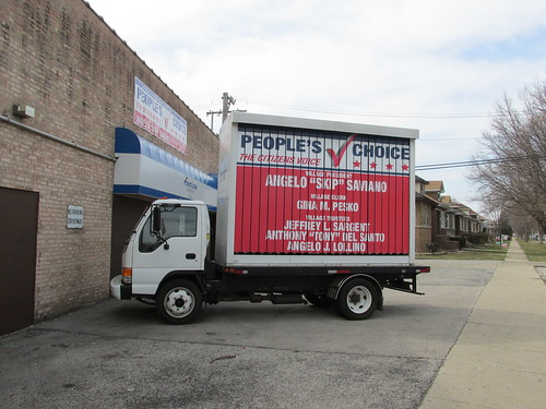 Rented advertising truck used for the 2013 People's Choice political party election. (They won!)  Elmwood Park Illinois.  April 2013. by Eddie from Chicago