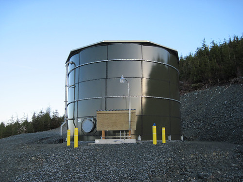 The City of Kasaan's new 150,000 gallon water storage tank.  Quality water for an Alaska Native Community provided through the USDA Rural Alaska Village Grant Program,  Photo taken by Jerry Cnossen, Project Superintendent for the Alaska Native Tribal Health Consortium (ANTHC) and used with permission.