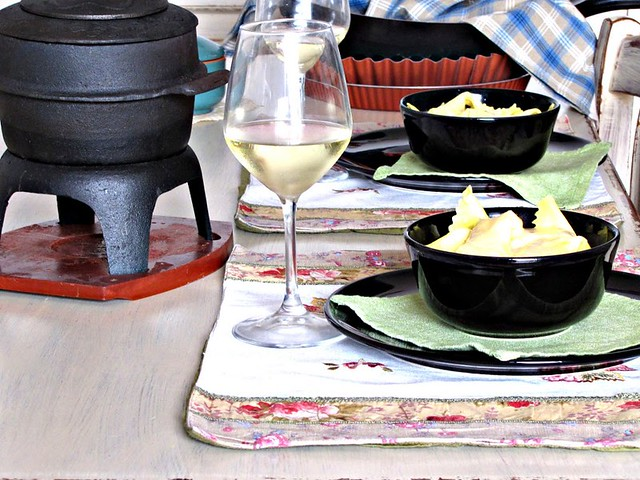 Fazzoletti di Zucca con Fonduta di Taleggio all'Amaretto