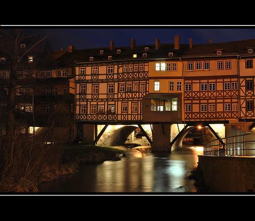 bridge night nacht erfurt krämerbrücke