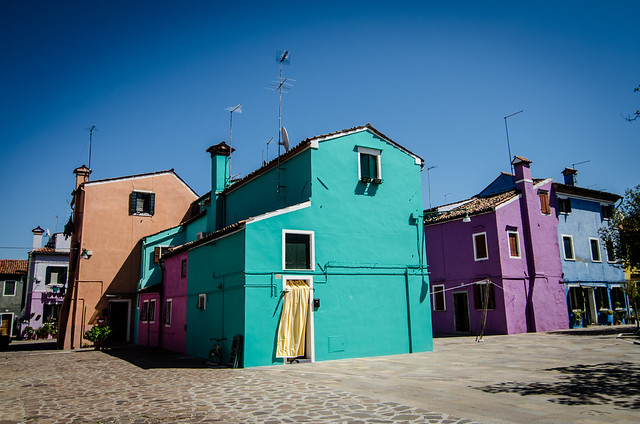 A rainbow of houses on Burano in Italy.