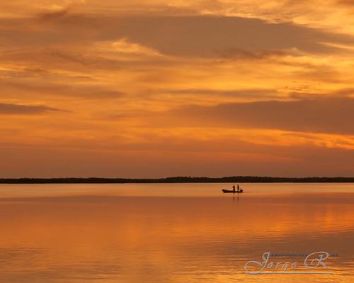 longexposure sunset sea orange usa boat alone florida southflorida evergladecity