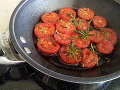 Seared roma tomatoes