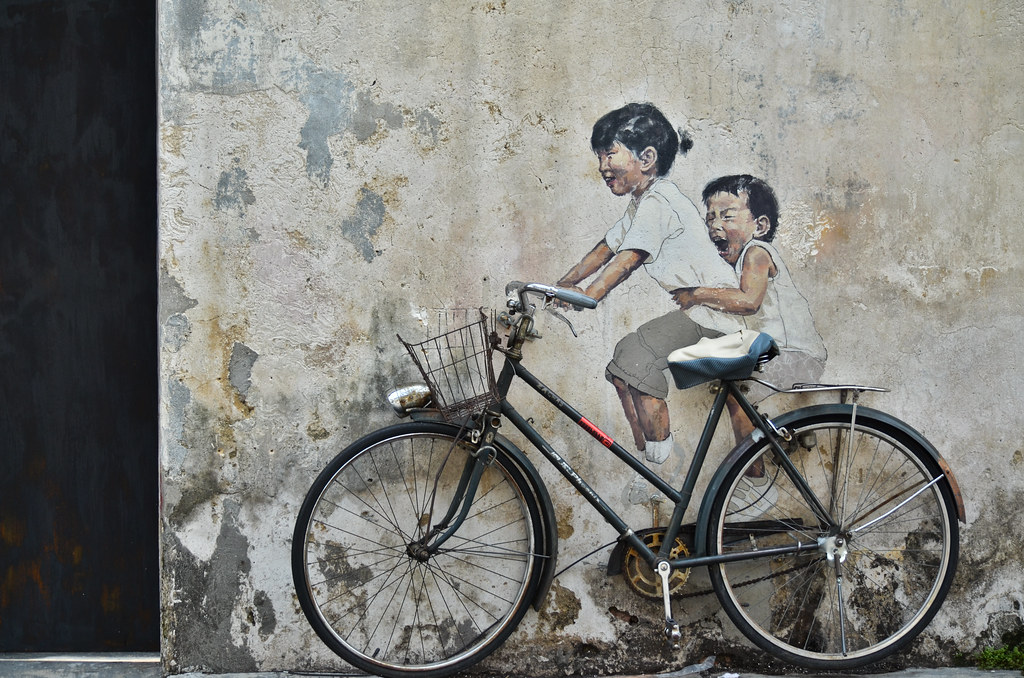 """Little Children on a Bicycle"" Mural at Armenian Street 小孩骑自行车壁画"