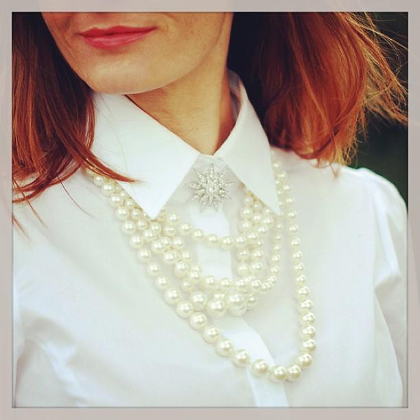White shirt & pearls