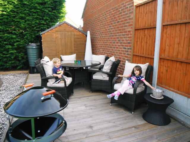 Relaxing in the outdoor seating area after the Money Supermarket 'Room for Improvement' challenge