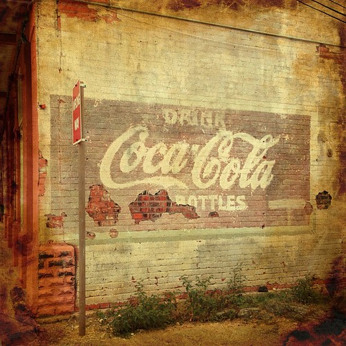 Coca-Cola ghost sign in downtown Rosenberg, Texas.