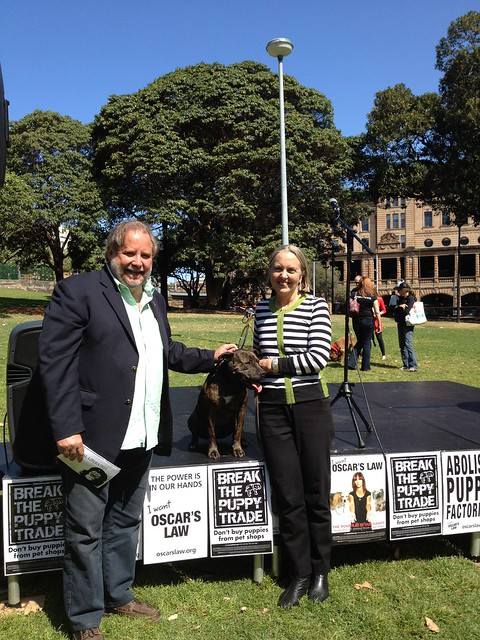 Lee Rhiannon and Chris Harris at Oscar's Law rally September 2012