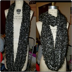 Also #onsale Saturday at @chacc_dc black and white Angel hair infinity scarf. $20  #crochet #fashion #MadeInDC #artallnightdc