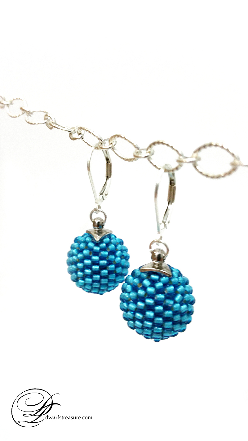 OOK blue glass bead ball dangle earrings