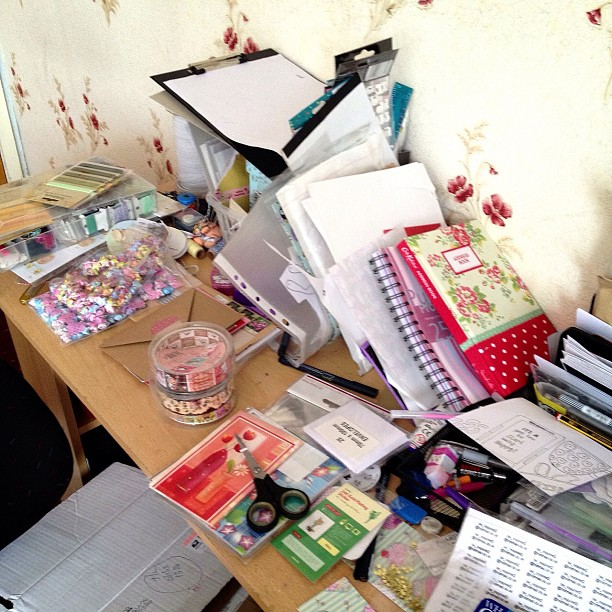 My desk right now! Yikes! My bed looks something similar as I'm having a serious tidy #mess #desk #disaster #bedroom #bombsite #goodness #howdiditgetlikethis