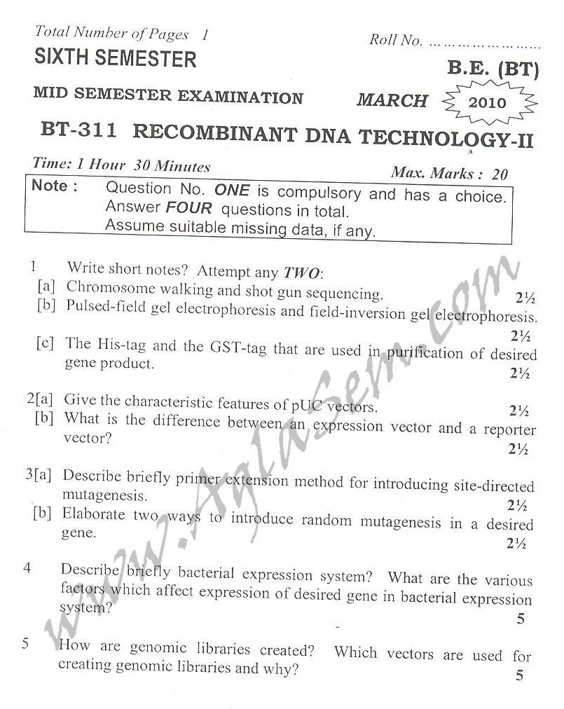 DTU Question Papers 2010 – 6 Semester - Mid Sem - BT-311