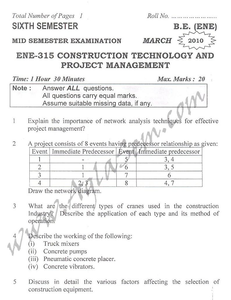 DTU Question Papers 2010 – 6 Semester - Mid Sem - ENE-315