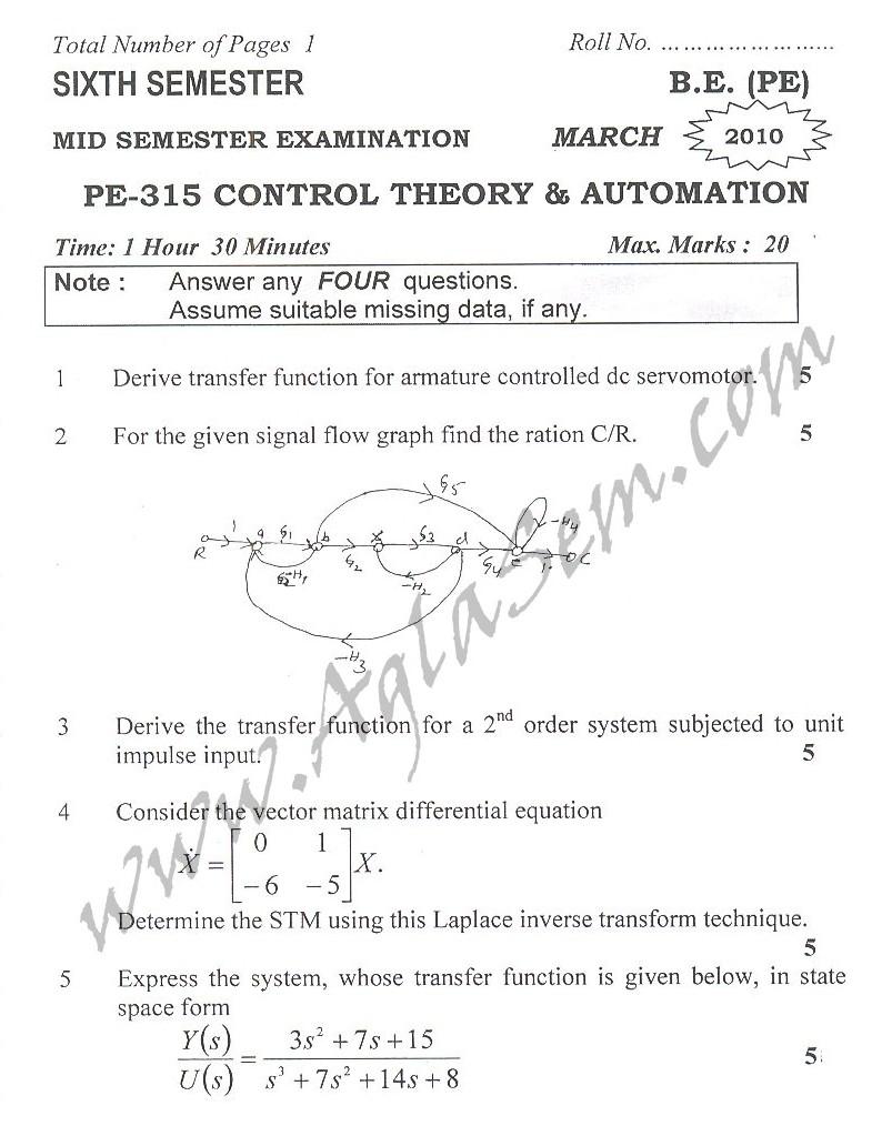 DTU Question Papers 2010 – 6 Semester - Mid Sem - PE-315