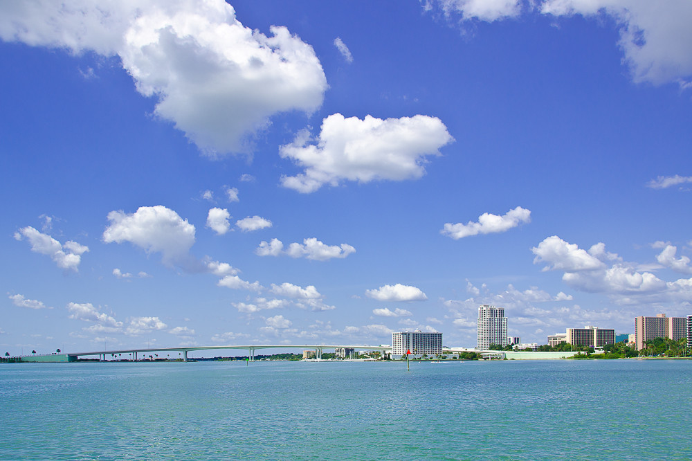 Wide angle view of Clearwater from the Intracoastal Waterway