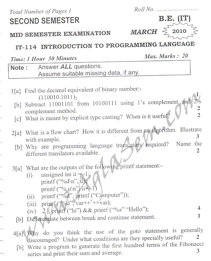 DTU Question Papers 2010 – 2 Semester - Mid Sem - IT-114