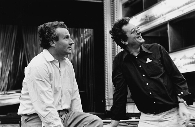 Colin Davis and Gotz Friedrich during rehearsals for the Ring cycle © 1975 ROH /Donald Southern Collection