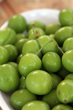 tiny green plums