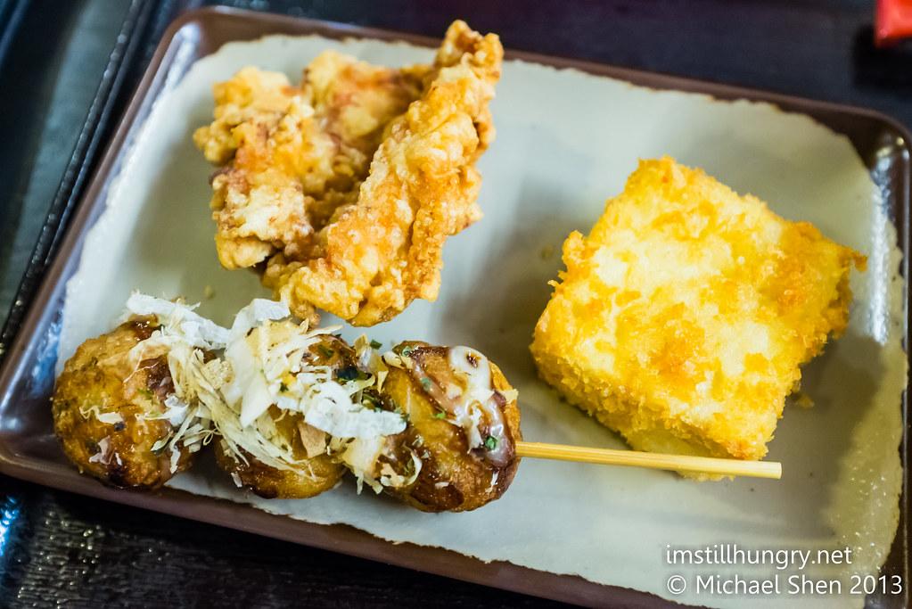 Tenkomori Ramen House karaage chicken, tofu and takoyaki