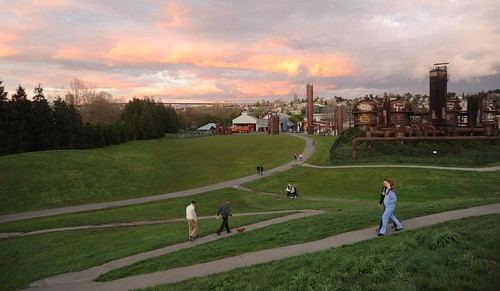 Bright clouds - orange and purple, nightfall, people, dog, paths, lawn, Gasworks Park, Seattle, Washington, USA by Wonderlane