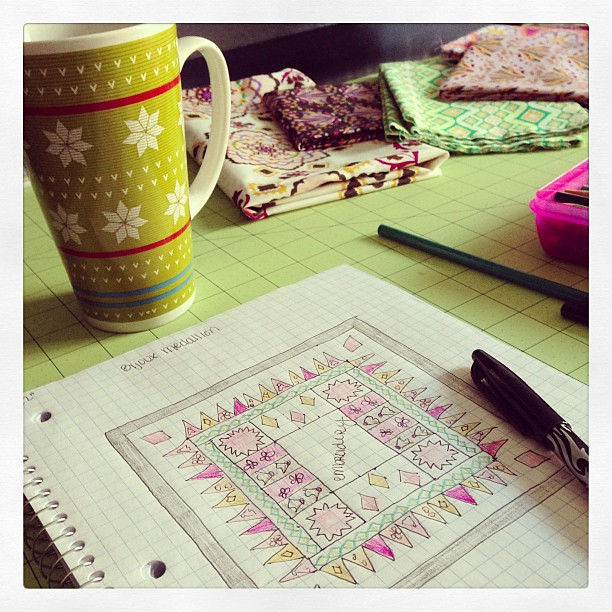 Quilt planning and tea drinking.