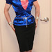Kathy Leigh blue satin top and pencil skirt by Kathy_Leigh