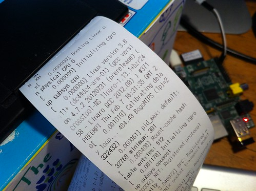 Raspberry Pi boot screen text coming out of printer