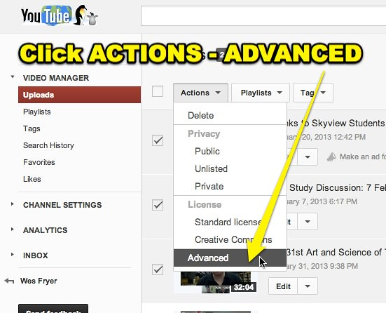 YouTube - Actions - Advanced