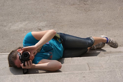 Rebecca is really dedicated to getting the perfect shot.