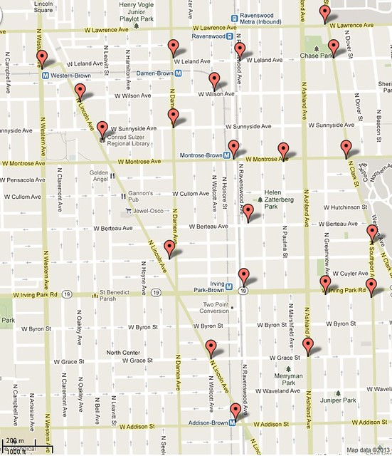 Bike sharing locations in the 47th Ward