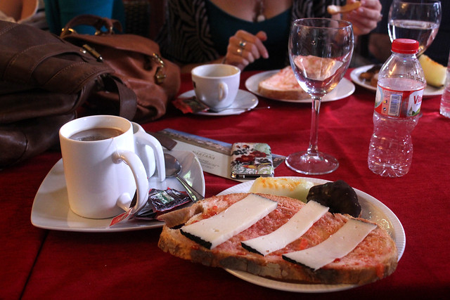 A Catalan breakfast of pa amb tomaquet in Girona, Spain