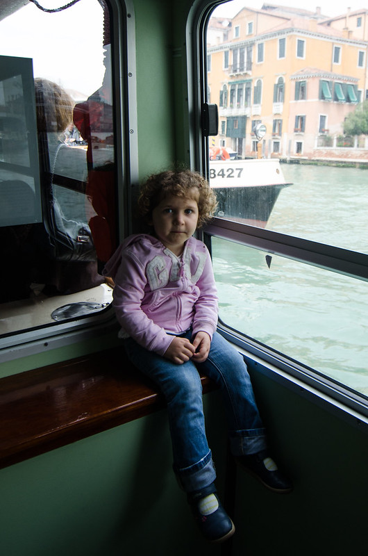 A window seat on the Vaporetto, or water bus, in Venice.