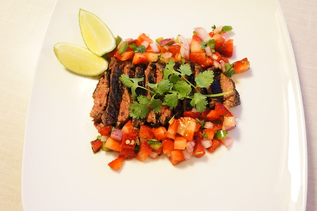 Grilled Skirt Steak with Strawberry Salsa