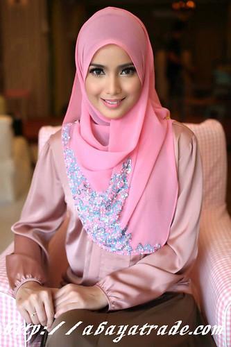 elegant pink fashion  abaya