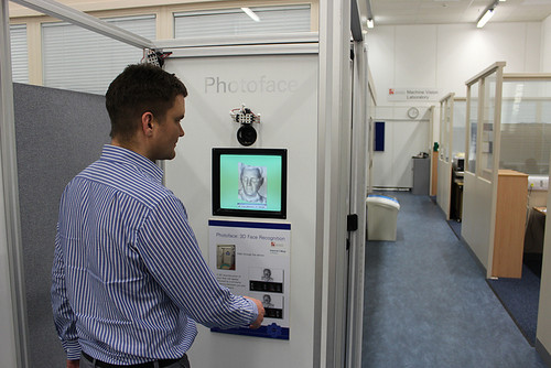 Dr Mark Hansen using the Photoface device which uses photometric stereo techniques in facial recognition software