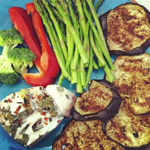 Swordfish and eggplant chips