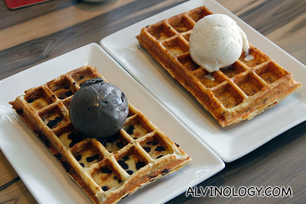 CT's Original Plain Waffles ($10+) with Dark Chocolate Ice Cream (additional $5+) and CT's Original Filled Waffles with Bacon & Cheese ($10+)