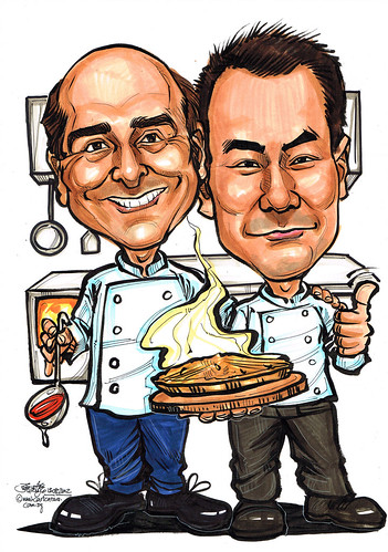 chef caricatures in kitchen