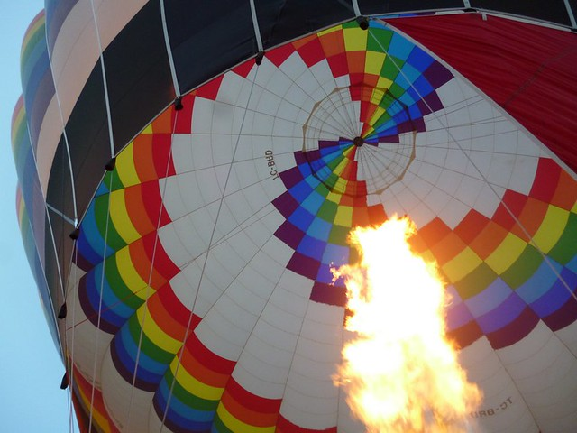 Hot air balloon and gigantic bunsen burner