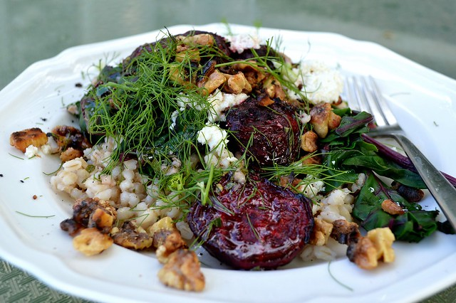 Grilled beet salad with barley and feta ~ Sweetfern Handmade ...
