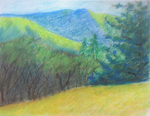 Trees and Colorado Mountains (Drawing from Sketchbook) by randubnick