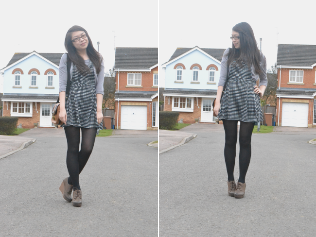 daisybutter - UK Style and Fashion Blog: ootd, wiwt, what i wore, pinafore, luella satchel, SS13, monochrome
