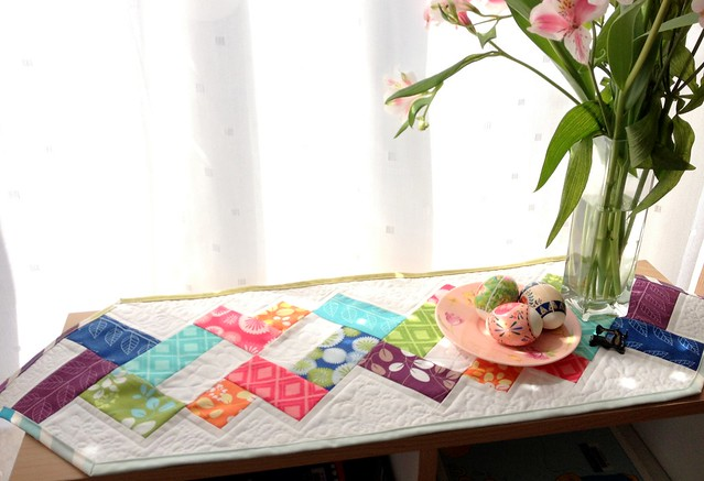 Simply Helixed charm squares table runner