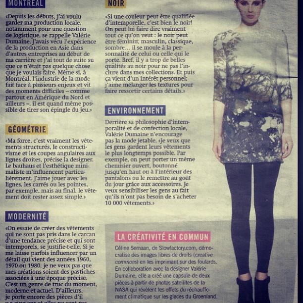 valérie dumaine + #slowfactory dans le journal Métro #montreal