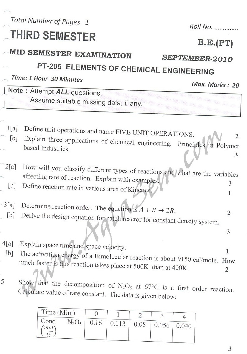 DTU Question Papers 2010 – 3 Semester - Mid Sem - PT-205