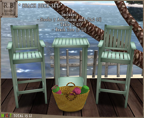 RnB Beach Deck Set - 2x5 Poses - Teal