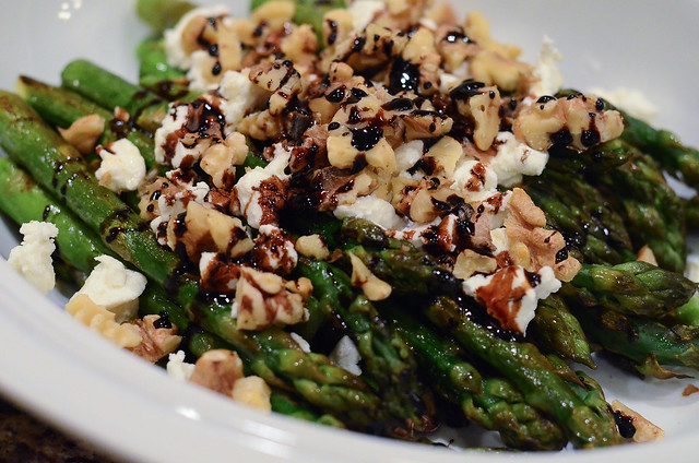 The finished Roasted Asparagus with Balsamic, Goat Cheese & Toasted Walnuts