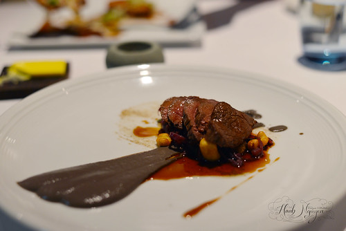 Roasted venison leg, mushroom puree, juniper oil, spaetzle