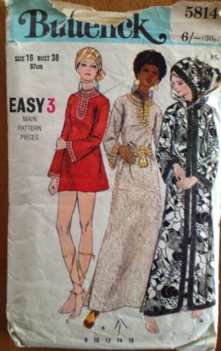 Vintage Butterick sewing pattern caftan