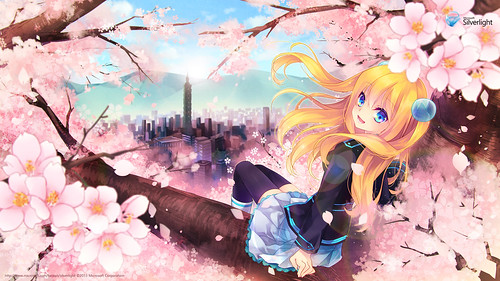 130412(2) – 台灣微軟Silverlight看板娘「藍澤光」享受櫻吹雪,『2013 賞櫻』限定壁紙開放下載!